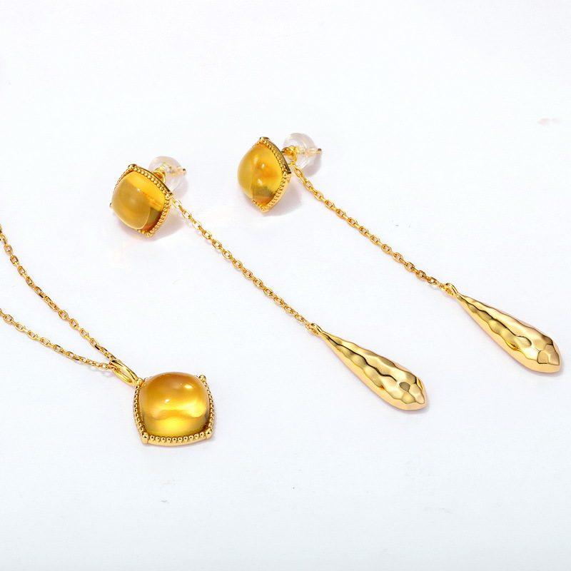 Bộ trang sức bạc mạ vàng đính đá Citrine hình gi�t nước LILI_878141-02