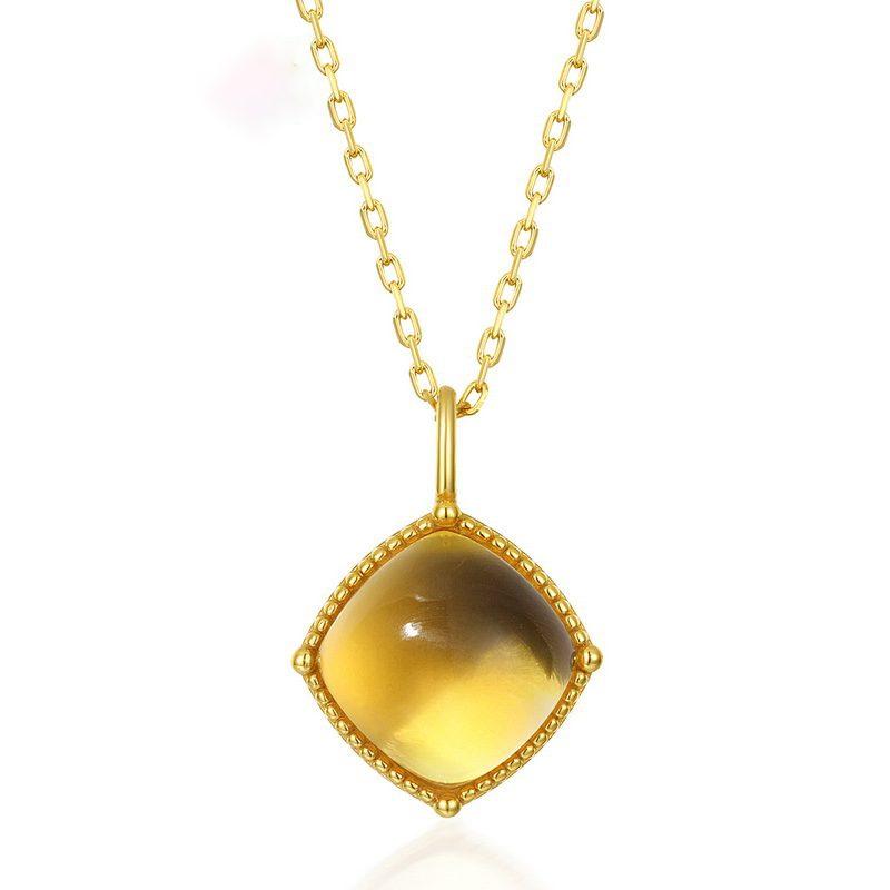 Bộ trang sức bạc mạ vàng đính đá Citrine hình giọt nước LILI_878141-04