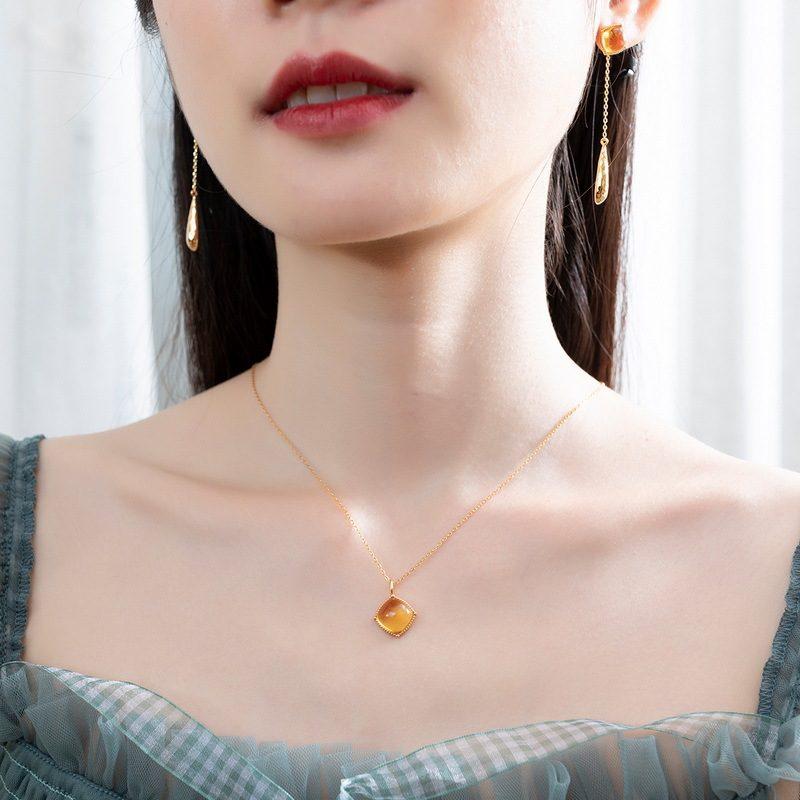 Bộ trang sức bạc mạ vàng đính đá Citrine hình giọt nước LILI_878141-05