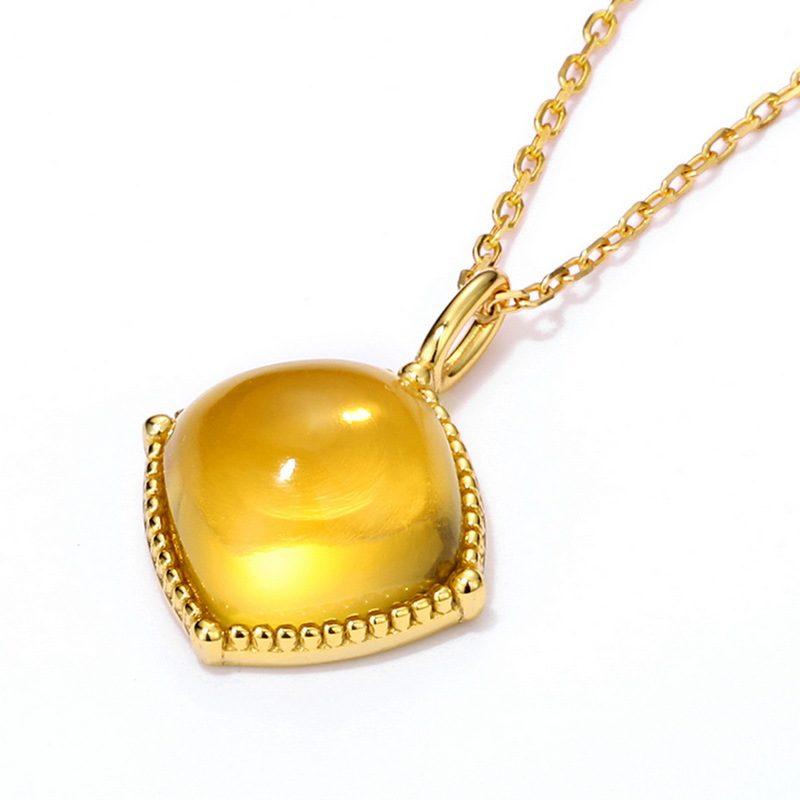 Bộ trang sức bạc mạ vàng đính đá Citrine hình giọt nước LILI_878141-07