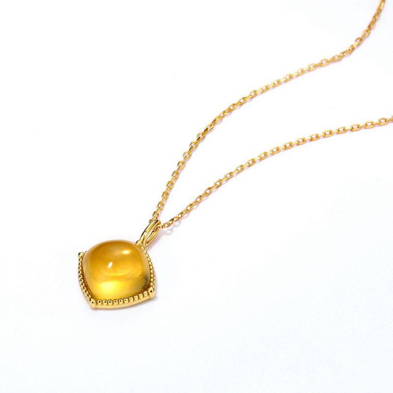 Bộ trang sức bạc mạ vàng đính đá Citrine hình giọt nước LILI_878141-08