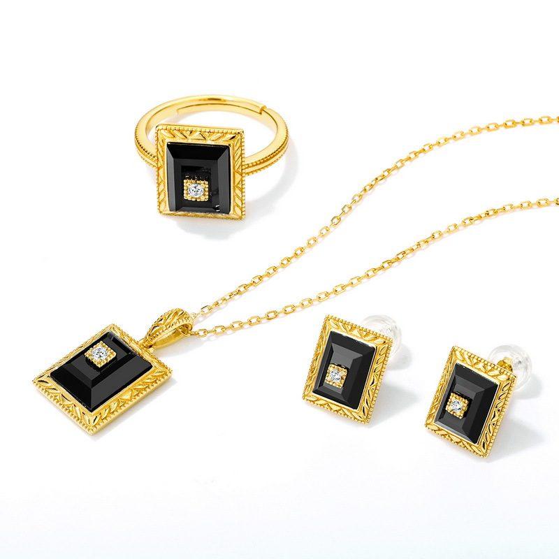 Bộ trang sức bạc mạ vàng đính đá Mã Não Zircon LILI_712978-04