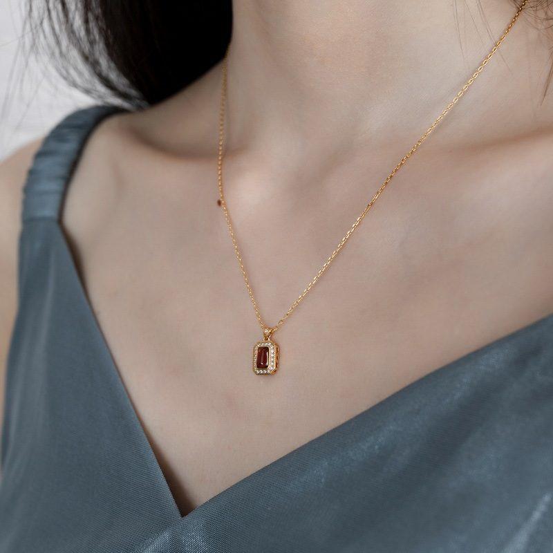 Bộ trang sức bạc mạ vàng đính đá Zircon Red LILI_876274-04