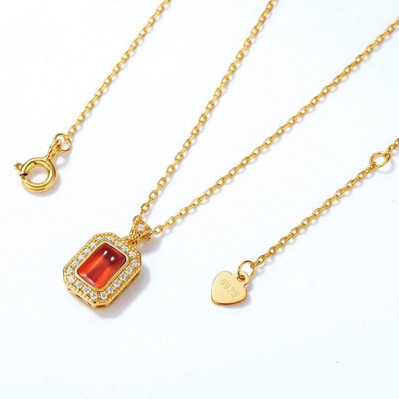 Bộ trang sức bạc mạ vàng đính đá Zircon Red LILI_876274-05