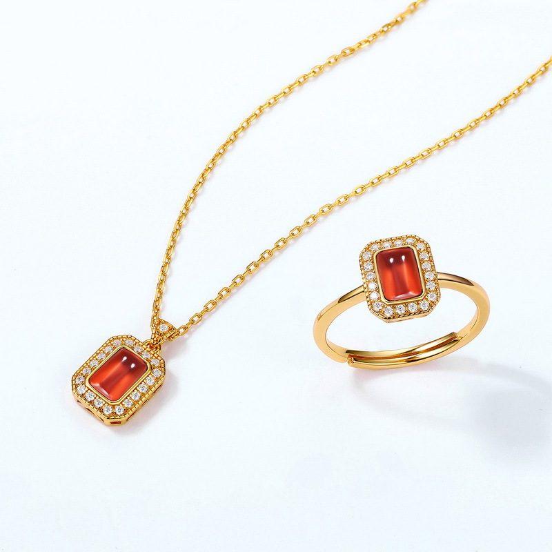 Bộ trang sức bạc mạ vàng đính đá Zircon Red LILI_876274-07