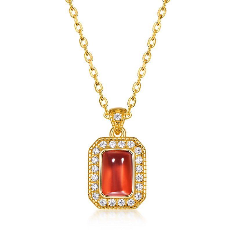 Bộ trang sức bạc mạ vàng đính đá Zircon Red LILI_876274-08