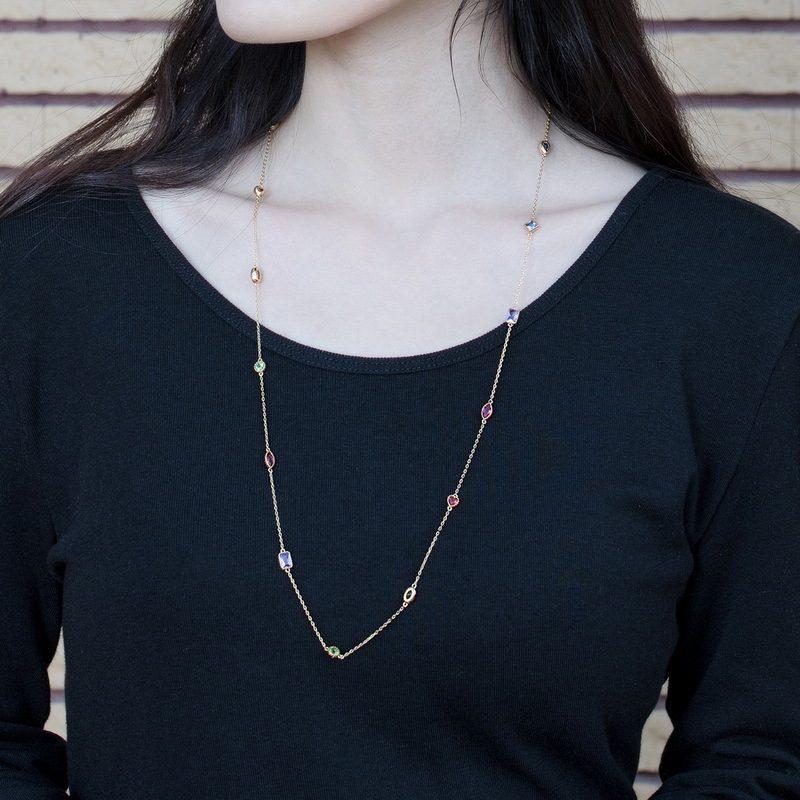 Bộ trang sức bạc mạ vàng đính đá Zircon đa sắc LILI_414773-02