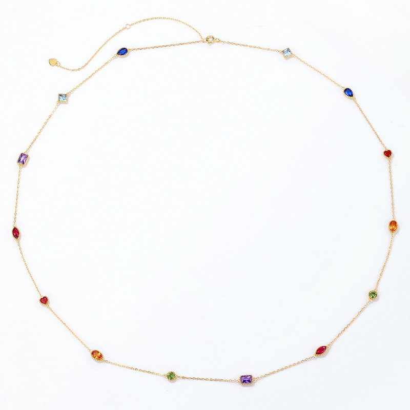 Bộ trang sức bạc mạ vàng đính đá Zircon đa sắc LILI_414773-03