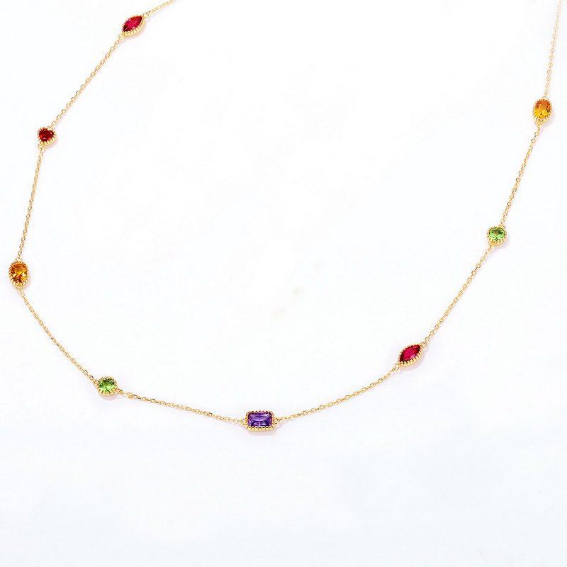Bộ trang sức bạc mạ vàng đính đá Zircon đa sắc LILI_414773-04