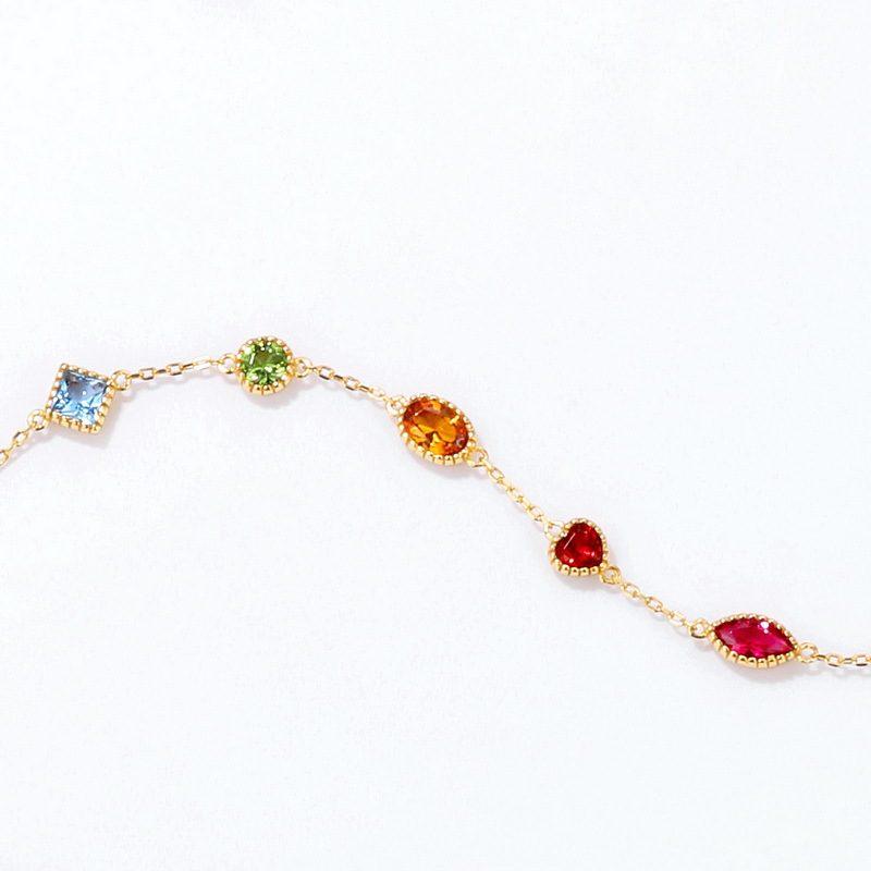 Bộ trang sức bạc mạ vàng đính đá Zircon đa sắc LILI_414773-08
