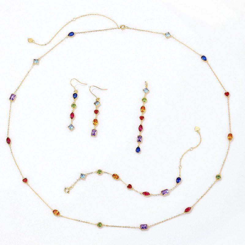 Bộ trang sức bạc mạ vàng đính đá Zircon đa sắc LILI_414773-09