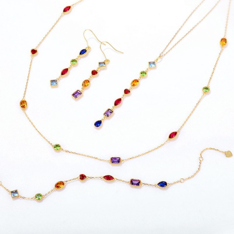 Bộ trang sức bạc mạ vàng đính đá Zircon đa sắc LILI_414773-13