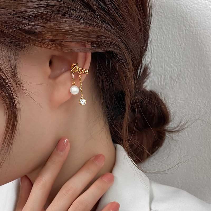 Bông Tai Kẹp Bạc Mạ Vàng đính đá Zircon Lovely Day LILI 549996 1