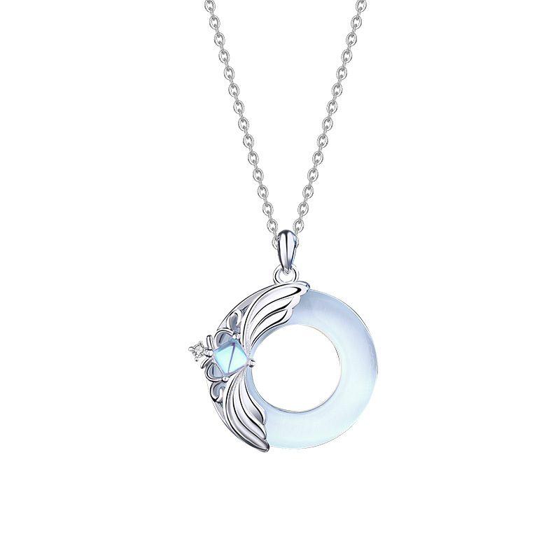 Dây Chuyền đôi Bạc đính đá Opal Obsidian Princess And Prince LILI 376749 2