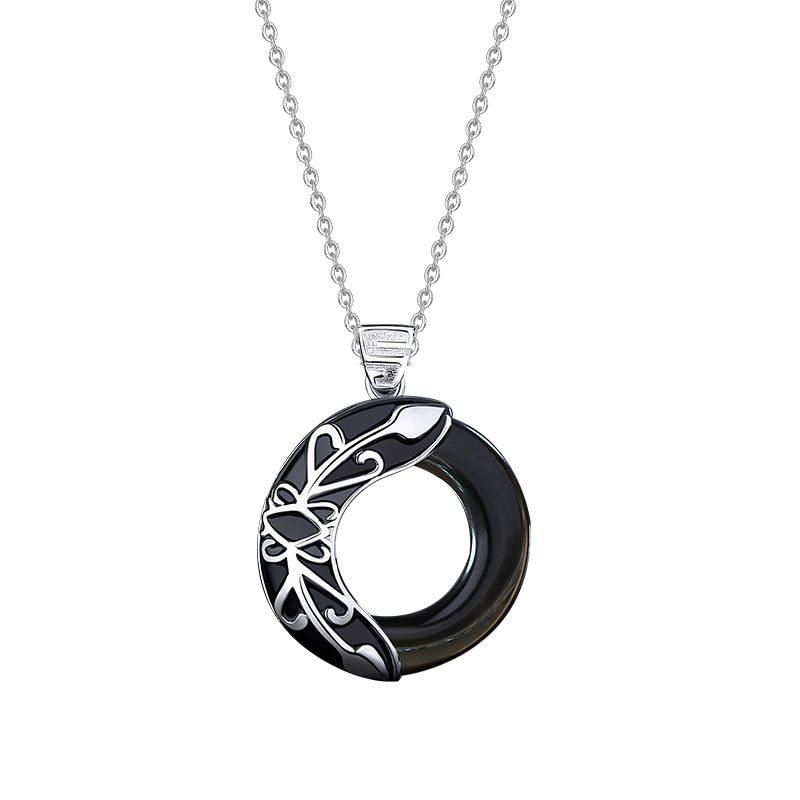 Dây chuyền đôi bạc đính đá Opal Obsidian Princess and Prince LILI_376749_3