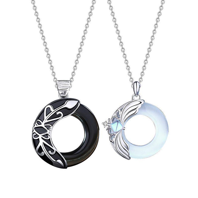 Dây Chuyền đôi Bạc đính đá Opal Obsidian Princess And Prince LILI 376749 7