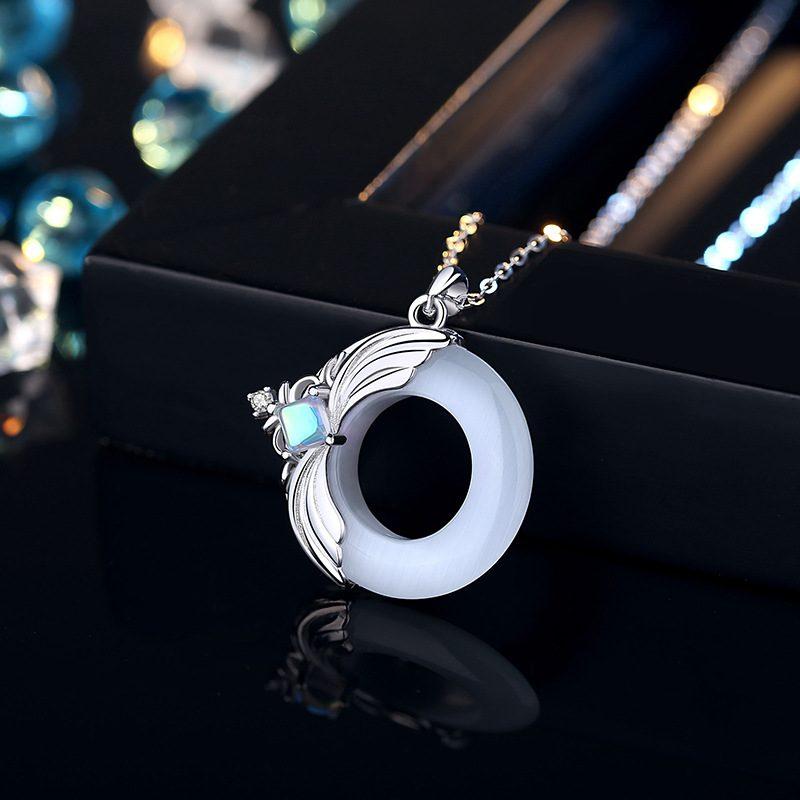 Dây Chuyền đôi Bạc đính đá Opal Obsidian Princess And Prince LILI 376749 8