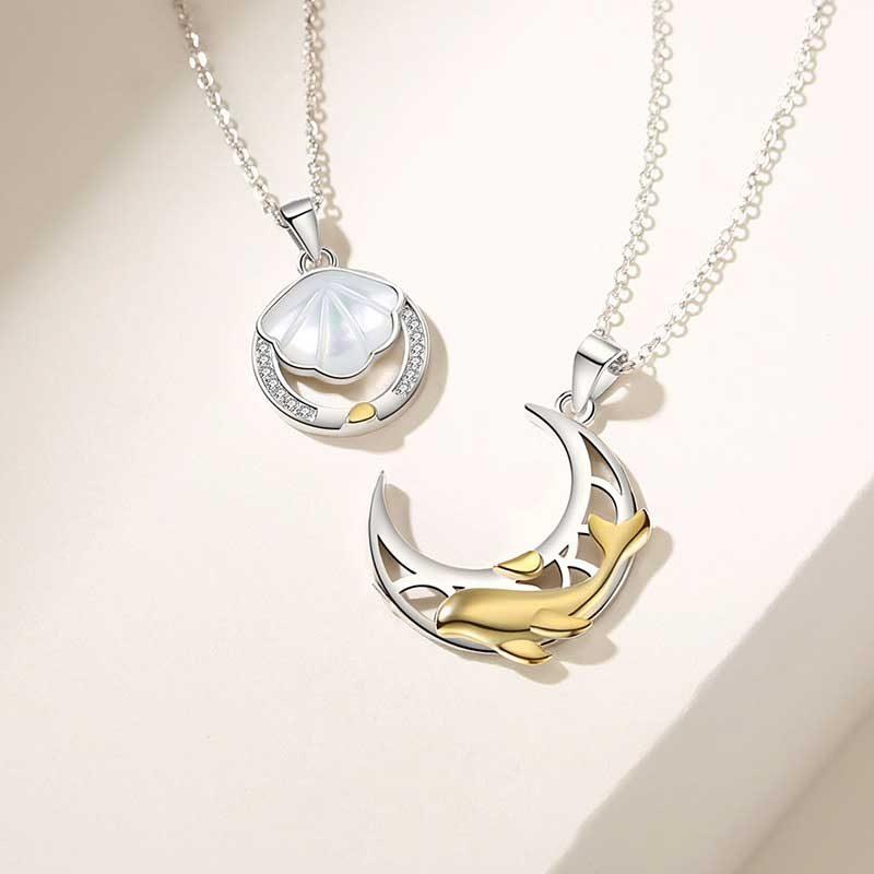 Dây chuyền đôi bạc hình cá heo hồng Forever Love LILI_528145_1