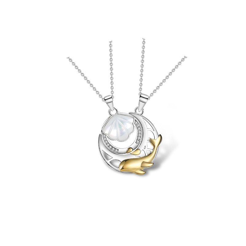 Dây chuyền đôi bạc hình cá heo hồng Forever Love LILI_528145_6