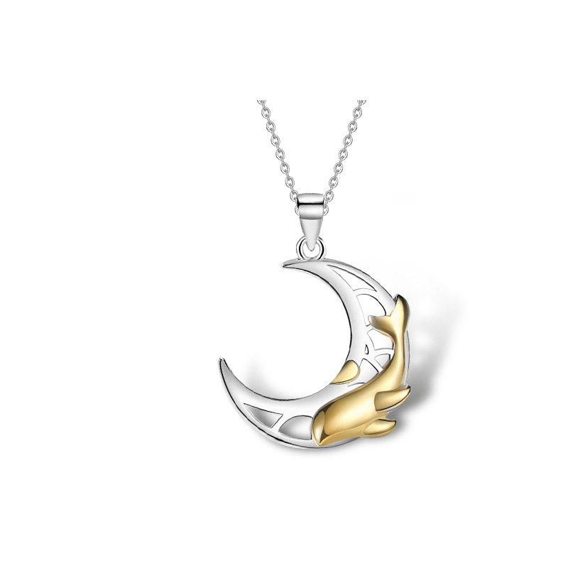 Dây chuyền đôi bạc hình cá heo hồng Forever Love LILI_528145_7