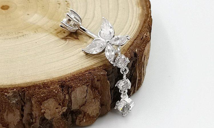 Khuyên rốn bạc nữ cánh bướm sợi dài LILI_444761_6