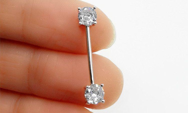 Khuyên xỏ bạc nữ-nam đính đá Zircon cho lưỡi, môi LILI_623124_10