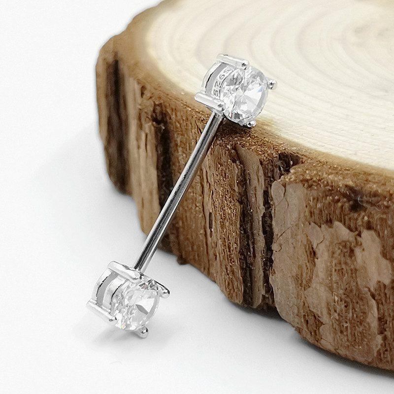 Khuyên xỏ bạc nữ-nam đính đá Zircon cho lưỡi, môi LILI_623124_3