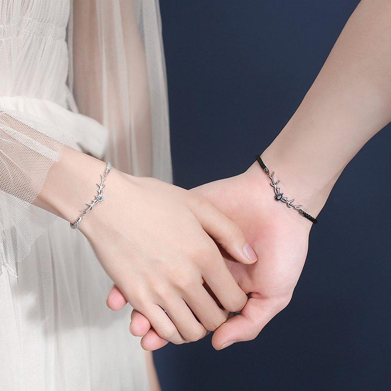 Vòng tay Lắc tay bạc đôi hình gạc nai LILI_158273_2