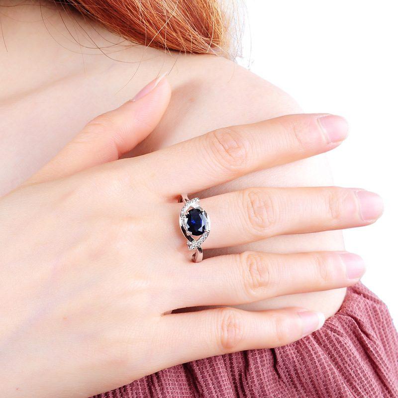 Nhẫn Bạc đính đá Zircon Blue LILI 185633 5
