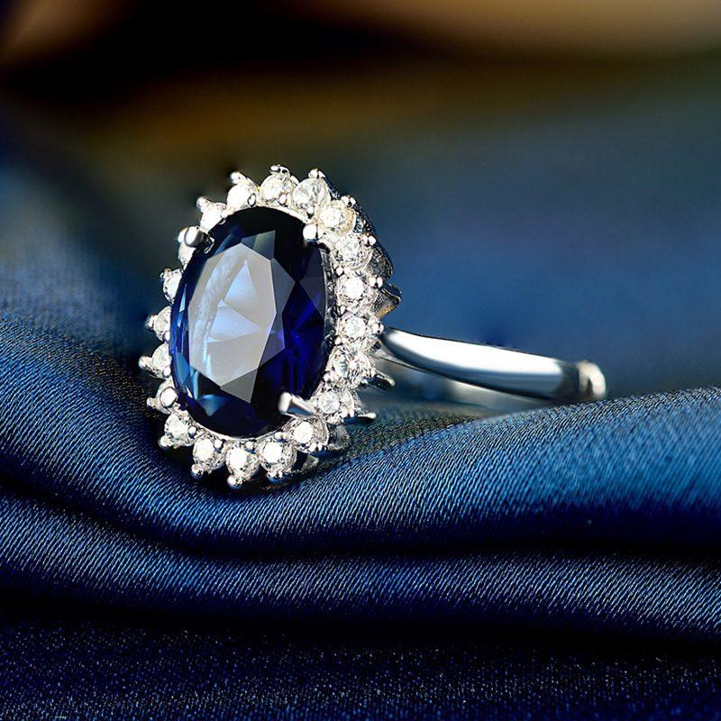 Nhẫn Bạc đính đá Zircon Blue LILI 584849 1