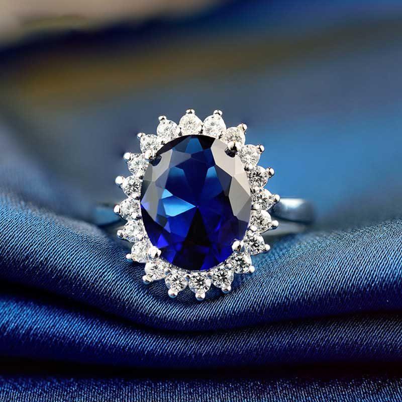 Nhẫn Bạc đính đá Zircon Blue LILI 584849 2
