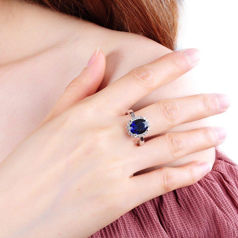 Nhẫn Bạc đính đá Zircon Blue LILI 584849 4