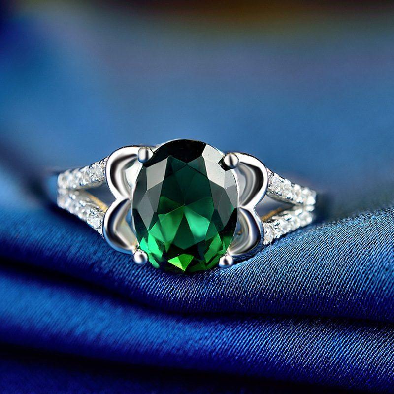 Nhẫn Bạc đính đá Zircon Green LILI 828763 2