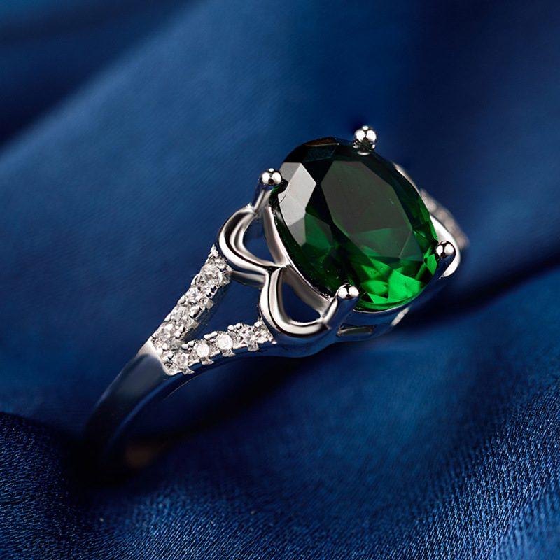 Nhẫn Bạc đính đá Zircon Green LILI 828763 3