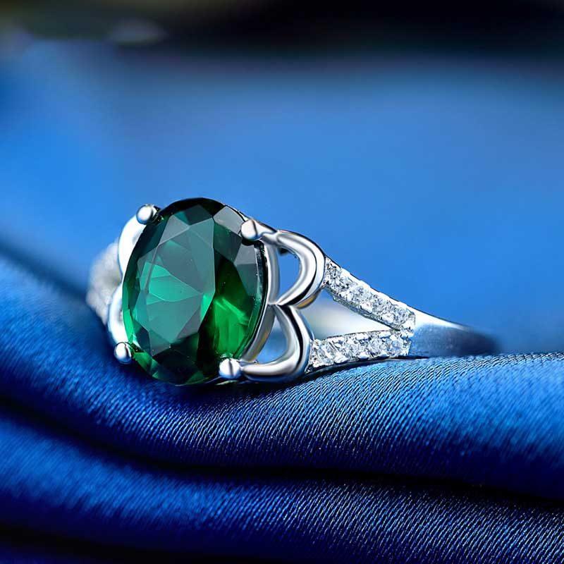 Nhẫn Bạc đính đá Zircon Green LILI 828763 4