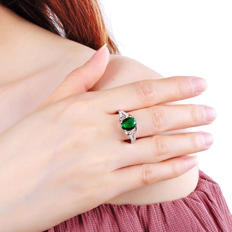 Nhẫn Bạc đính đá Zircon Green LILI 828763 5