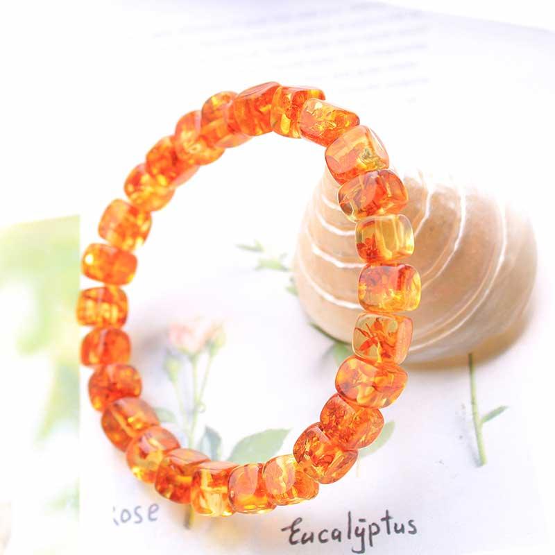 Lắc tay Vòng tay hổ phách tự nhiên dạng khối màu vàng lửa LILI_449158_1